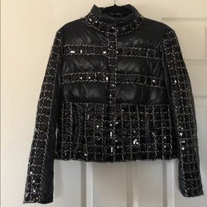 Black sequin puffer jacket